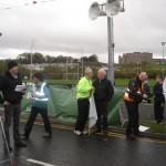 Mr. John Treacy CEO of Irish Sports Council speaking with Deputy Tony McLoughlin before the start of the An Post Tour of Sligo 2013.